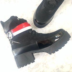 Moto Boots Black Red  Booties Tie Chunky Heel